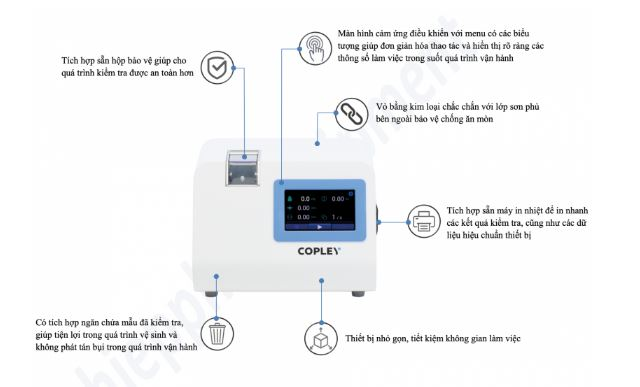 Đặc điểm Máy kiểm tra độ cứng viên thuốc Copley Scientific TBF 100I