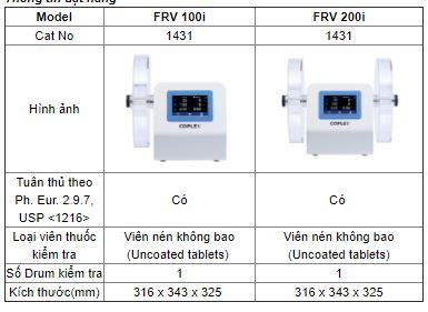 Thông số kỹ thuật Máy kiểm tra độ mài mòn viên thuốc Copley Scientific FRV 200i