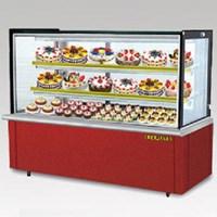 Tủ trưng bày bánh lạnh BERJAYA (MALAYSIA) kính vuông, mầu đỏ