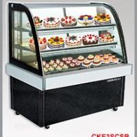 Tủ trưng bày bánh kính cong màu đen CKE