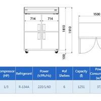 Tủ mát 2 cánh kính Southwind B137BG-2TR ( Hàn Quốc)