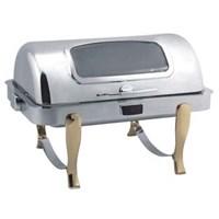 Lò điện hâm buffet chữ nhật chân vàng (nắp PC) dùng điện LHDSK61161-2